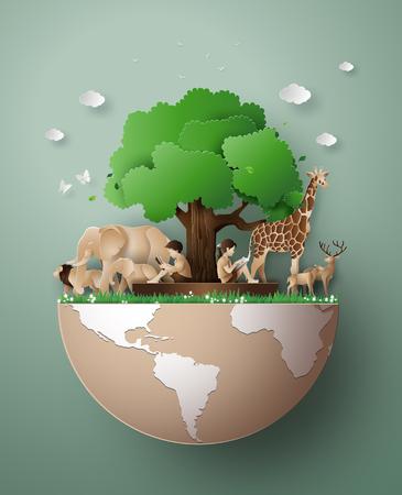 Światowy Dzień Dzikiej Przyrody ze zwierzęciem w lesie, sztuka papieru i cyfrowy styl rzemieślniczy. Ilustracje wektorowe