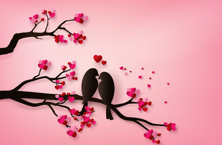 amore Uccelli appollaiati su un ramo di un albero. arte della carta 3d da artigianato digitale. Vettoriali