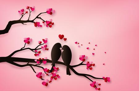 Pájaros del amor posados en una rama de un árbol. arte de papel 3d de artesanía digital. Ilustración de vector