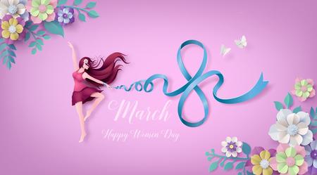 Día Internacional de la Mujer 8 de marzo con marco de flores y hojas, arte en papel 3d de estilo artesanal digital.