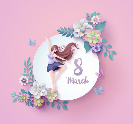 Internationale Vrouwendag 8 maart met frame van bloem en bladeren, papierkunst 3d uit digitale ambachtelijke stijl.