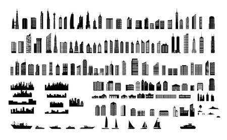 Silhouette of various city and building Stock Vector - 119957096