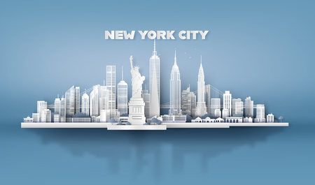 Manhattan, New York City avec des gratte-ciel urbains, Paper art 3d de style artisanal numérique.