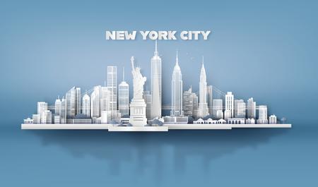 Manhattan, New York City con grattacieli urbani, Paper art 3d dallo stile artigianale digitale.