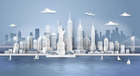 Manhattan, ciudad de Nueva York con rascacielos urbanos, arte en papel 3d de estilo artesanal digital. Ilustración de vector
