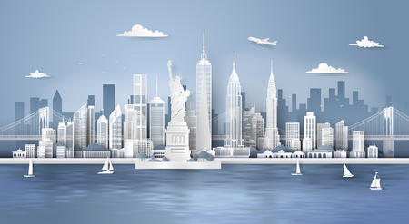 Manhattan,New York City with urban skyscrapers, Paper art 3d from digital craft style.