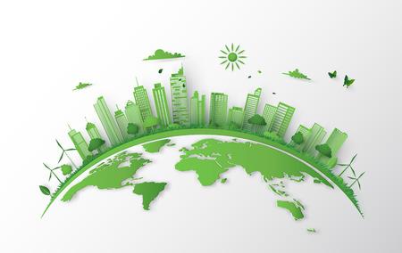 Konzept der grünen Stadt mit dem Bauen auf der Erde. Weltumwelttag, Papierkunst 3d aus digitalem crfat.