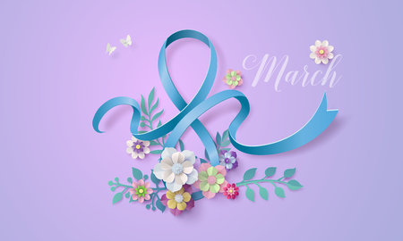 International Women's Day 8 march with frame of flower and leaves , Paper art 3d from digital craft style.