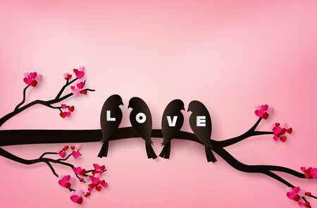 love Birds perched on a branch of a tree. paper art 3d from digital craft.