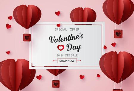 Valentinstag-Verkauf mit Ballon-Herzform. Papierkunst 3d vom digitalen Handwerksstil.