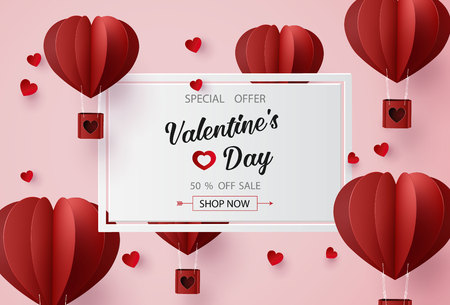 Valentines day sale with  Balloon heart shape. paper art 3d from digital craft style.