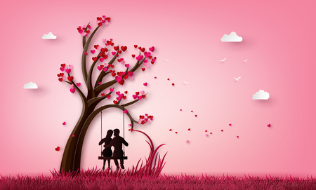 illustration of two enamored under a love tree, paper art 3d form digital craft. Stock Vector - 125110340