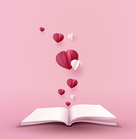 concept of love and valentine day with hot  heart shape over the book, paper art 3d from digital craft. Stock Illustratie