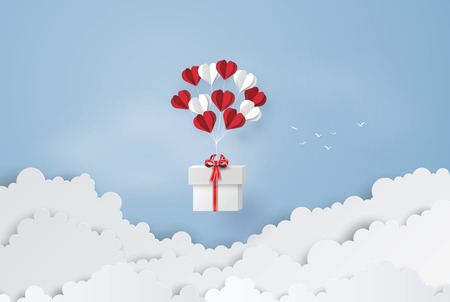 Illustration of love and valentine day, balloon heart shape hang the  gift box float on the sky.paper art style. Illusztráció