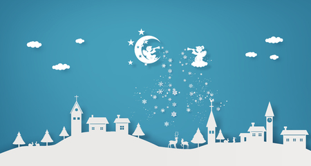 Merry Christmas and Happy new year,with angel In the sky is trumpeted over village,Paper art 3D from digital craft. Иллюстрация