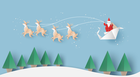 Origami of Santa claus is carrying a gifts sack,reindeer and Christmas trees,vector illustration paper art style. 矢量图像