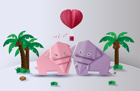 Illustration of love and Valentine day origami made elephant  love in the  jungle.paper art  digital craft style.