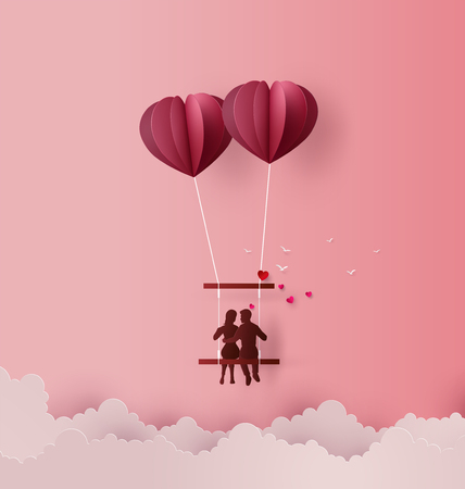 Concept of Love and Valentine day ,Couples sit on swing floating on the sky with hot air balloon Heart shape. Paper art 3D from digital art and craft.