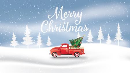 Frohe Weihnachten und ein glückliches neues Jahr mit rotem LKW und Weihnachtsbaum. Papierkunst 3D-Stil. Vektorgrafik