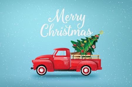 Feliz Navidad y próspero año nuevo con camión rojo y árbol de Navidad.