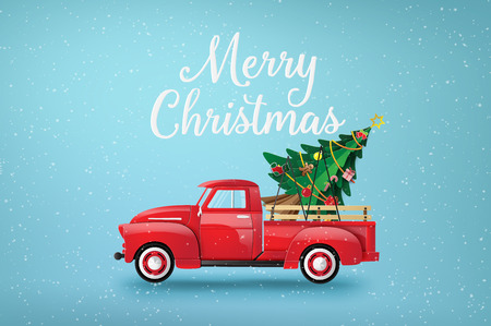 Merry Christmas and Happy New Year  with red truck and christmas tree. Banque d'images - 119957131