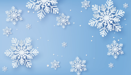 Christmas card with paper cut  snow flake,  Merry Christmas design. Vectores
