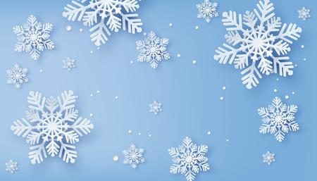 Tarjeta de Navidad con copos de nieve de papel cortado, diseño de feliz Navidad.