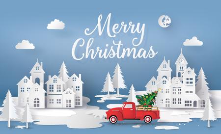 Wesołych Świąt i Szczęśliwego Nowego Roku z czerwoną ciężarówką i choinką. papier w stylu 3D.