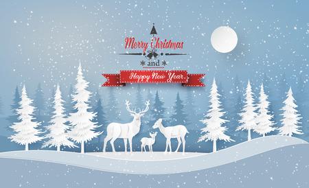 Illustration der Wintersaison und des Weihnachtstages Rotwild im Wald mit snow.vector Papierschnittart.
