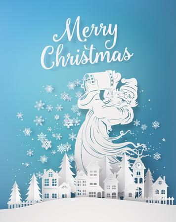 Feliz Navidad y próspero año nuevo, con santa claus derramar copo de nieve en el pueblo. Arte de papel 3d de artesanía digital.