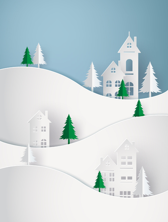 Winter Snow Urban Countryside Landscape City Village Happy new year and Merry christmas,paper art 3D with digital craft.
