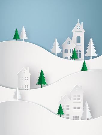 Winter Sneeuw Stedelijk Platteland Landschap Stad Dorp Gelukkig nieuwjaar en vrolijk kerstfeest, papierkunst 3D met digitale ambacht. Vector Illustratie