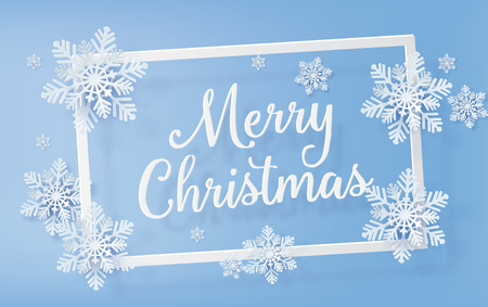 Christmas frame with snowflakes over blue background with text. Paper art 3d with digital craft.