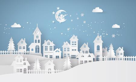 Frohe Weihnachten und ein glückliches neues Jahr, mit Engel Im Himmel wird über Dorf trompetet, Papierkunst 3D aus digitalem Handwerk. Vektorgrafik