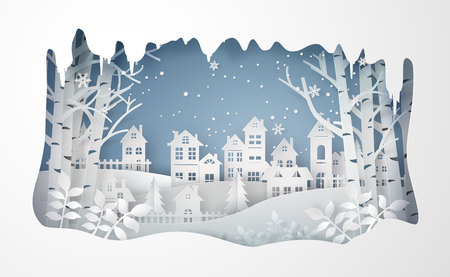 Winter Snow Urban Countryside Landscape City Village ,Happy new year and Merry christmas,paper art and craft style.