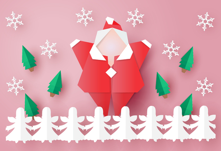 Santa Clause origami is hands up with little angels paper chains,vector illustration paper art style. Illustration