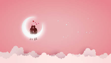 Concept of Love and Valentine day ,Couples sit on Crescent moon. Paper art 3D from digital art and craft. Çizim