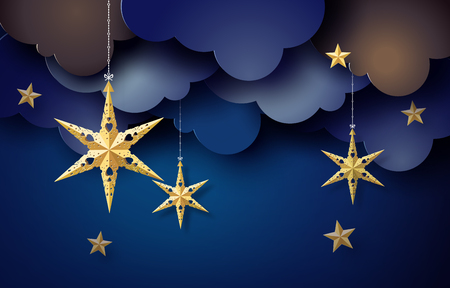 Origami star hang on sky in dark night, Paper art 3D from digital craft. 일러스트