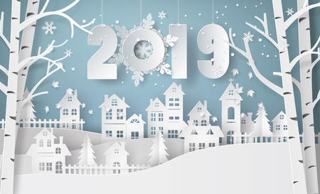 Happy new year and winter season , Snow Urban Countryside Landscape City Village with text 2019,paper art and craft style.