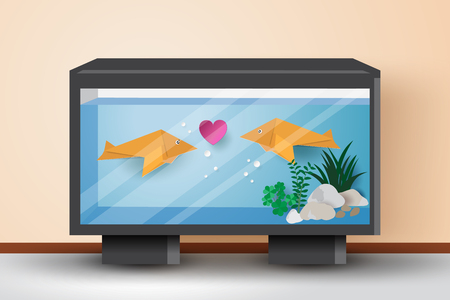 Origami fishes fall in love with each other in the fish tank,vector illustration paper art style.