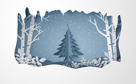 Merry chrismas and winter with snow and christmas tree.paper art style. Illustration