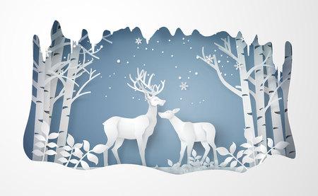 Herten in bos met sneeuw. Vector papier kunststijl.