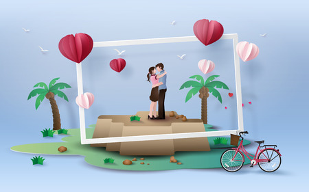 Illustration of love and valentines Day,  with couple standing hugging on  rok with red  bicycle, paper art 3D  digital craft style.