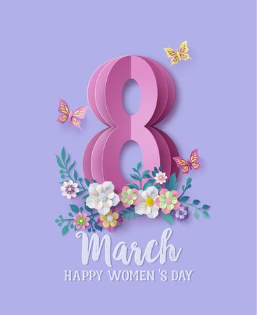 Internationaler Frauentag 8. März mit Rahmen aus Blumen und Blättern, Papierkunststil.