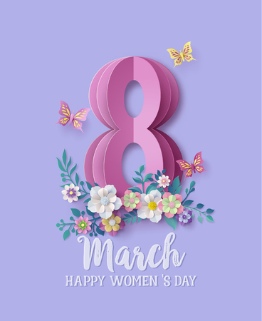 International Womens Day 8 march with frame of flower and leaves , Paper art style.