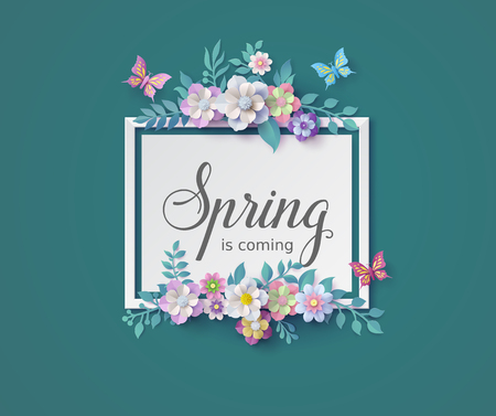 Spring season with frame of flower and leaves.  brochures or vouchers ,paper art style.