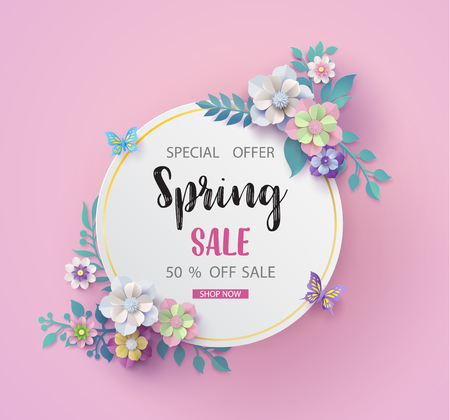 Spring sale background with beautiful blossom paper flower