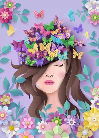 Internationale Vrouwendag 8 maart met frame van bloem en bladeren, papierkunststijl.