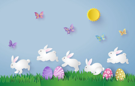 Illustration of Easter day with egg and rabbit ,paper art and digital craft style. Иллюстрация