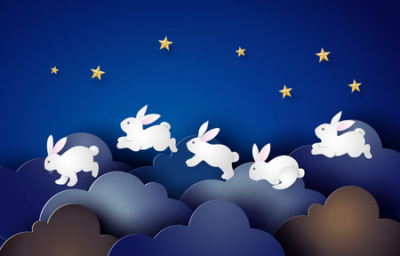 Illustration of Easter day with rabbit ,paper art and digital craft style. Иллюстрация